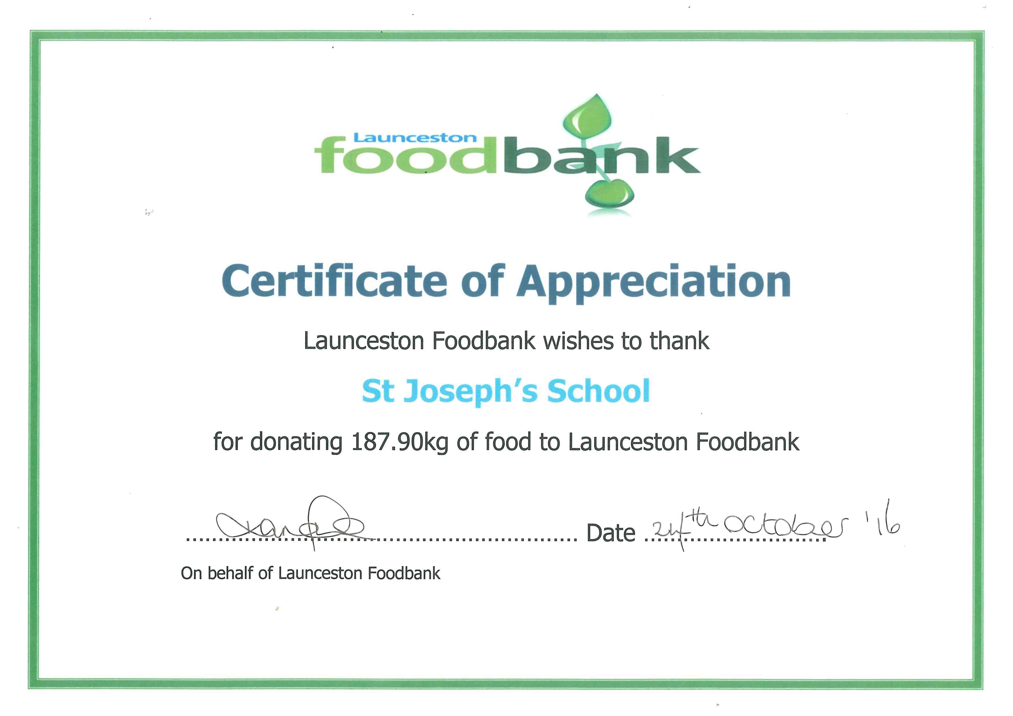 Food bank donation st josephs schoolst josephs school food bank certificate xflitez Gallery